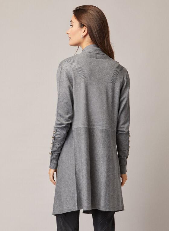 Pearl Detail Long Cardigan, Grey