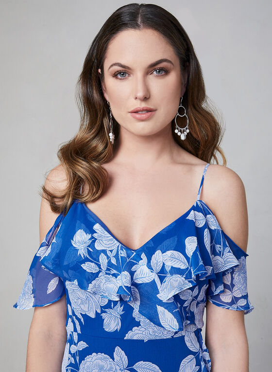 Maggy London - Floral Print Cold Shoulder Dress, Blue