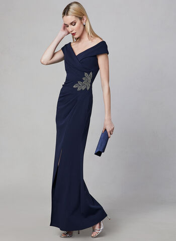 Alex Evenings - Off The Shoulder Gown, Blue, hi-res,  Spring 2019, evening dress