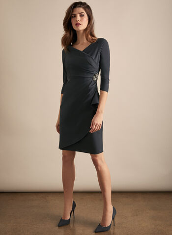 Alex Evenings - Faux Wrap Cocktail Dress, Grey,  dress, evening, occasion, elbow sleeves cocktail, faux wrap, rhinestones, spring summer 2020