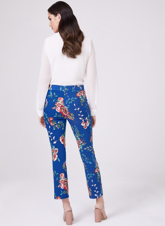Floral Print Pull-On Capri Pants, Blue, hi-res