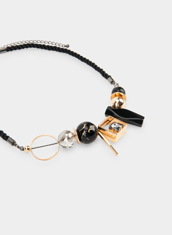 Short Cord Necklace  , Black