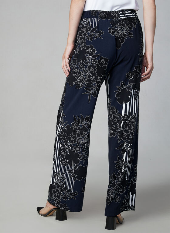 Pantalon jambe large à imprimés variés, Bleu, hi-res