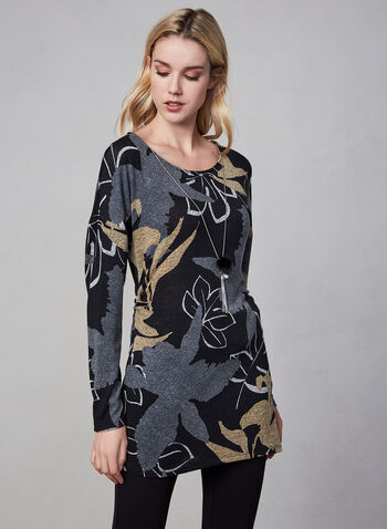 Frank Lyman - Printed Knit Tunic, Grey, hi-res,  fall winter 2019, tunic, sweater, knit, floral print, long sleeves