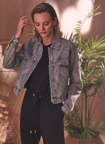 Joseph Ribkoff - Embellished Jean Jacket, Blue,  spring summer 2021, jean jacket, denim jacket, Joseph Ribkoff, Frank Lyman, online exclusive, shirt collar, long sleeve, buttoned, button front, button down, patch pockets, belted, crystal, embellished, embellishments, soft denim, cotton