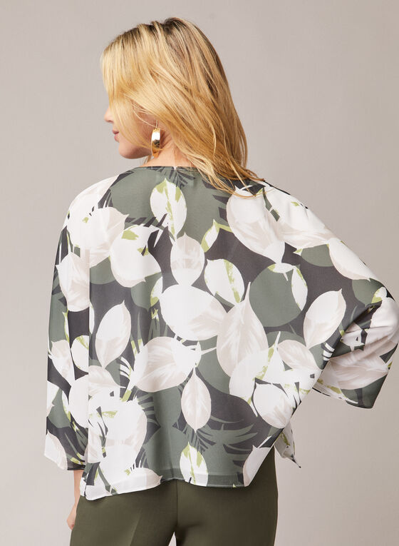Leaf Print Kimono Top, Green