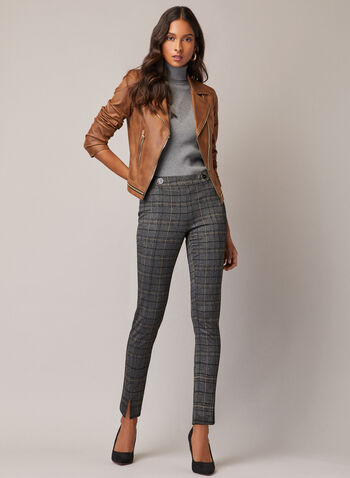 Tartan Print Amber Pants, Grey,  pants, amber, slim, zip, pleats, tartan, button details, fall winter 2020