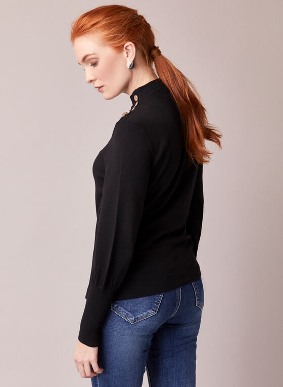 Button Detail Ruched Sleeve Sweater, Black