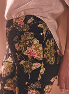 Floral Print Pull-On Pants, Black