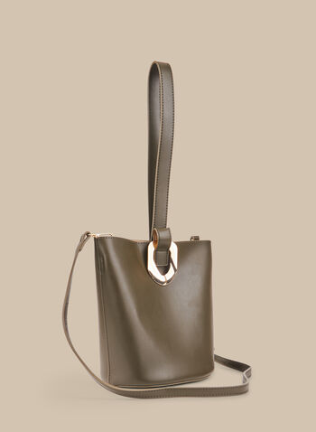 Faux-Leather Bucket Bag , Green,  spring summer 2020, faux-leather, handle, shoulder strap