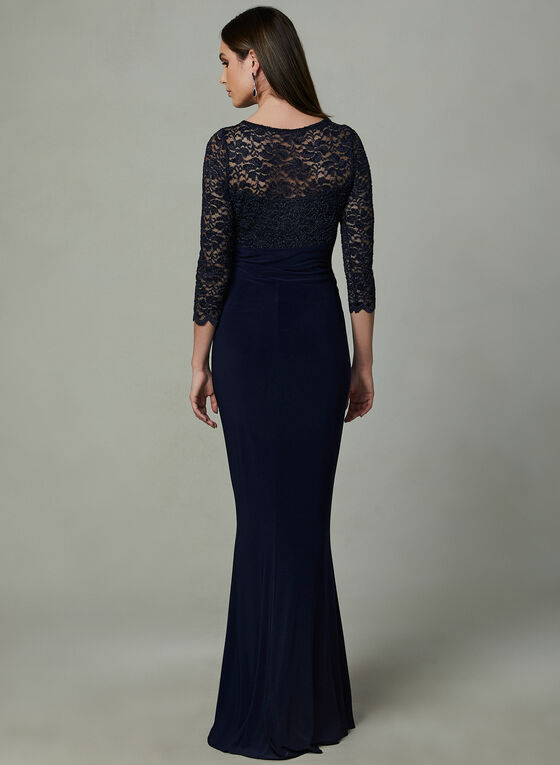 Marina - Lace Empire Waist Dress, Blue, hi-res