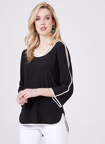 High Low Cold Shoulder Tunic, Black, hi-res
