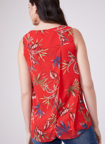 Blouse sans manches en mousseline à motif tropical , Rouge, hi-res
