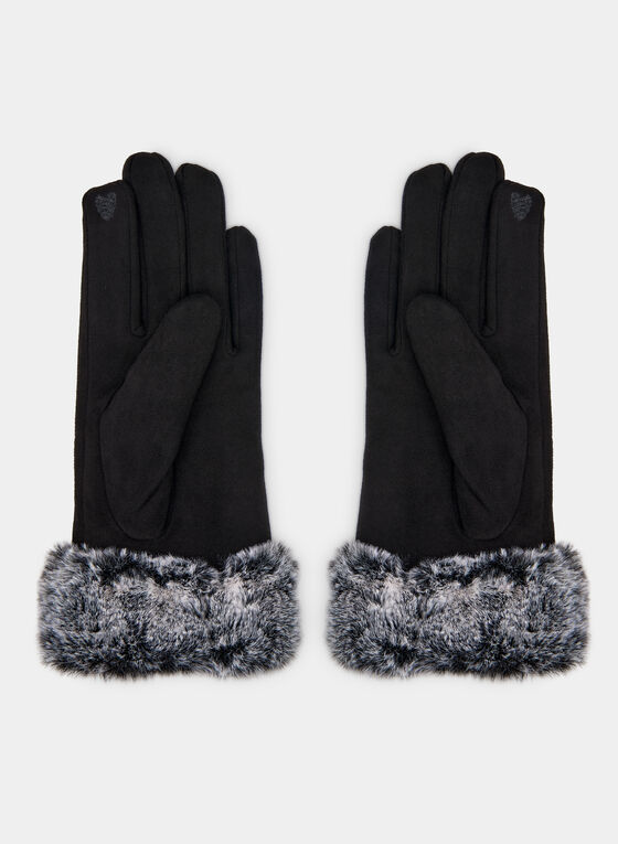 Faux Fur & Faux Suede Gloves, Black