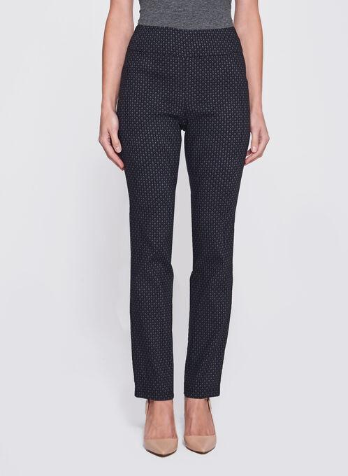 Straight Leg Pull-On Jacquard Pants, Black, hi-res