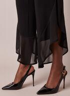 Pantalon bi-matière à jambe large, Noir