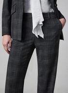 Plaid Print Wide Leg Pants, Grey