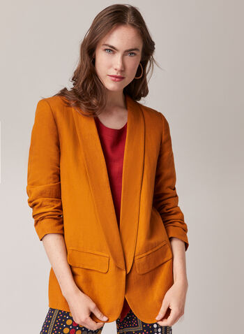 Open Front Linen Blazer, Yellow,  blazer, linen, open front, faux pockets, ruched, spring summer 2020