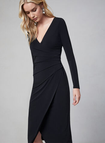 Maggy London - Long Sleeve Dress, Black, hi-res,  day dress, long sleeves, wrap, pleating, V-neck, fall 2019, winter 2019