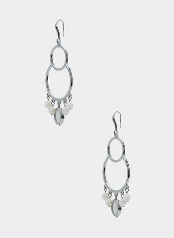 Double Hoop Earrings, White, hi-res