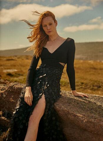 BA Nites - Robe à manches longues et jupe fleurie, Noir,  robe de soirée, col v, appliqués floraux, col v, manches longues, automne hiver 2020