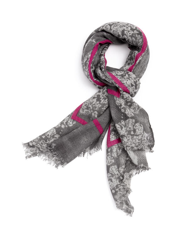 Floral Print Contrast Scarf , Grey, hi-res