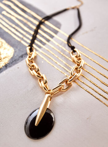 Long Pendant Necklace, Black,  spring summer 2021, accessory, accessories, necklace, chain, adjustable, links, cords, double, two rows, carabiner clasp, metal gold, resin pendant, oval,