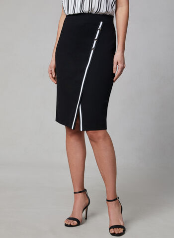 Contrast Trim Midi Skirt, Black, hi-res
