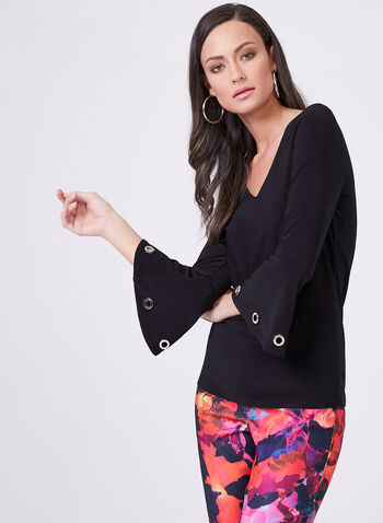 ¾ Bell Sleeve Grommet Detail Top, Black, hi-res