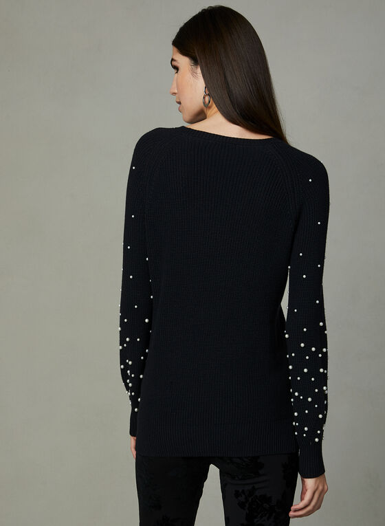 Pearl Embellished Knit Sweater, Black, hi-res