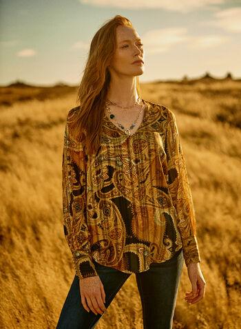 Haut à motif cachemire métallisé, Jaune,  automne hiver 2020, blouse, haut, manches longues, manches bouffantes, encolure en V, motif cachemire, métallique, métallisé