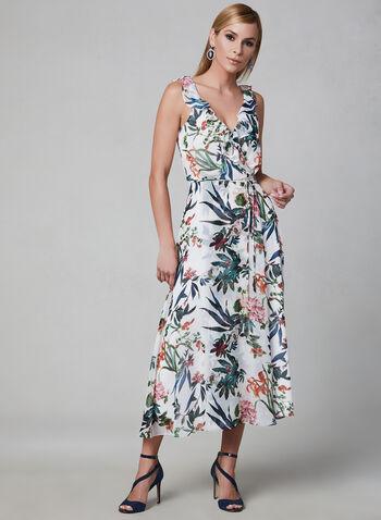 Robe maxi à fleurs et volants, Blanc,  robe longue, printemps 2019, sans manches, cintré, mousseline, motif, cache-cœur, portefeuille