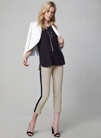 Contrast Trim Capri Pants, Off White, hi-res,  pull-on, stretchy, spring 2019, slim leg, summer 2019