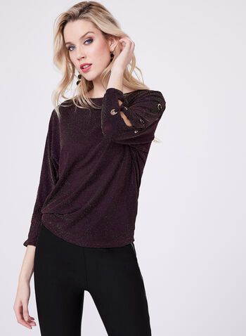 Dolman Sleeve Glitter Jersey Top , Purple, hi-res