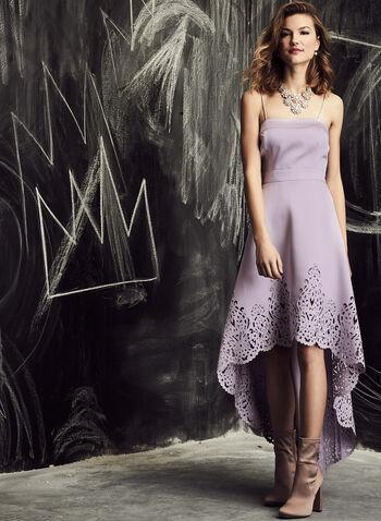 Nicole Miller - High Low Lace Effect Dress, Purple, hi-res