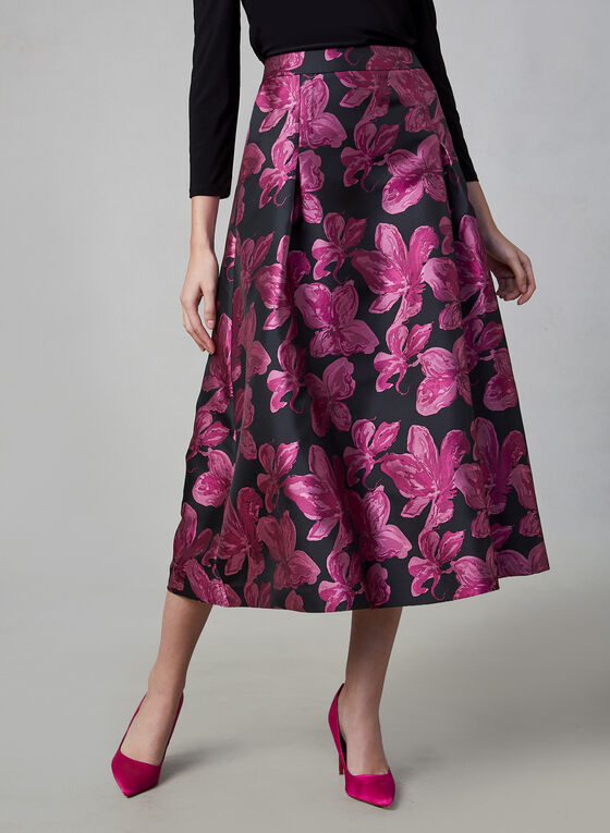 Floral Print Flare Skirt, Black