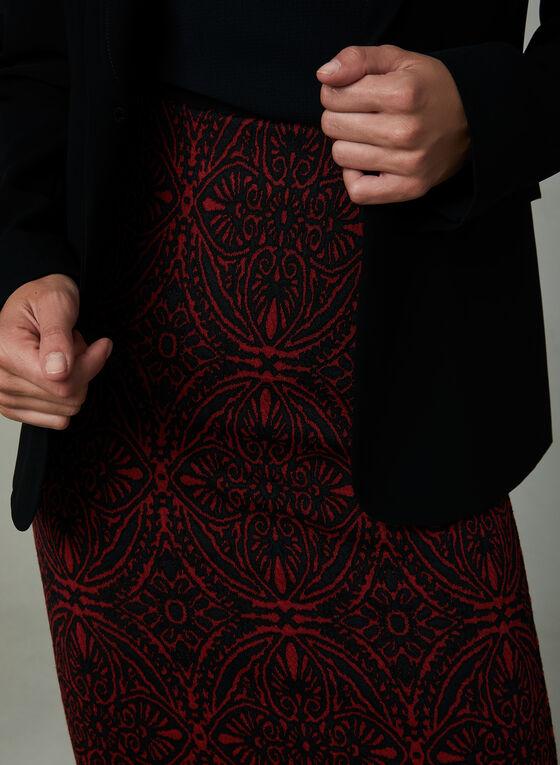 Baroque Print Pencil Skirt, Black, hi-res