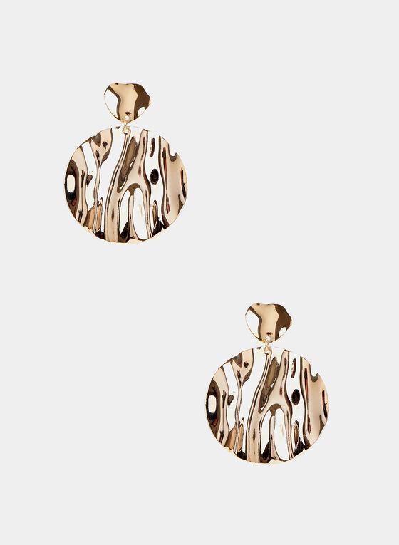 Round Dangle Earrings, Gold
