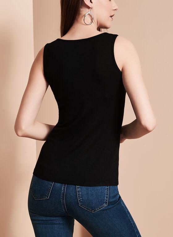 Sleeveless Lace Up Camisole, Black, hi-res