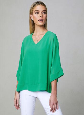 ¾ Sleeve Kimono Blouse, Green, hi-res