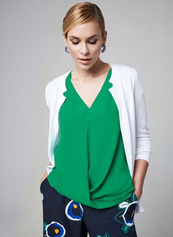Crossover Detail Blouse, Green, hi-res