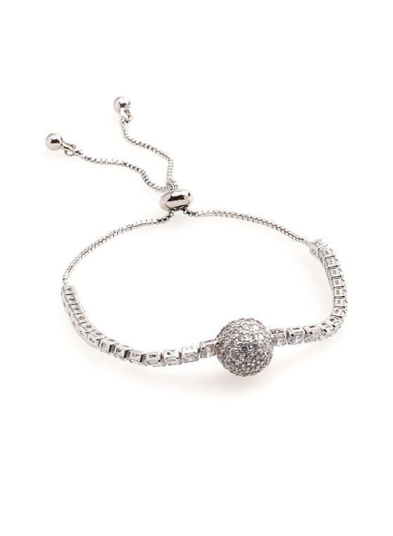 Adjustable Crystal Bracelet, Silver, hi-res