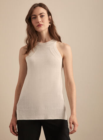Sleeveless Knit Tank, Off White,  top, tank, sleeveless, knit, round neck, spring summer 2020