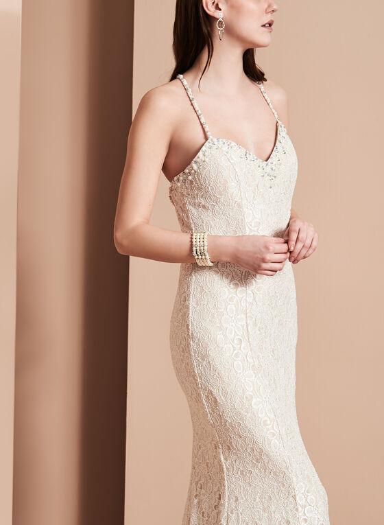 Cachet - Robe longue à bretelles fines, perles et paillettes, Blanc cassé, hi-res