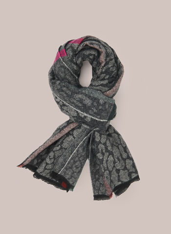 Animal Print Scarf, Black,  scarf, winter, animal print, tartan, fall winter 2020