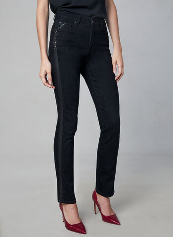 Simon Chang – Faux Leather Trim Jeans, Black,  stretchy jeans, dress jeans, dark jeans