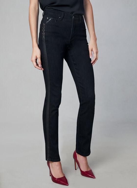 Simon Chang - Jeans à bandes similicuir, Noir, hi-res
