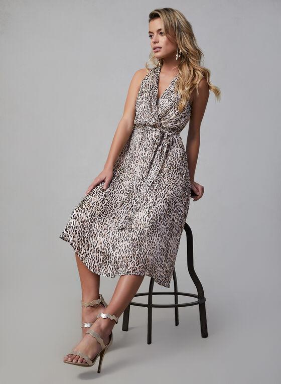Robe de soirée portefeuille à motif léopard, Blanc