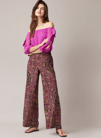 Baroque Print Palazzo Pants, Red,  pants, wide leg, palazzo, baroque print, pull-on, pockets, elastic, spring summer 2020