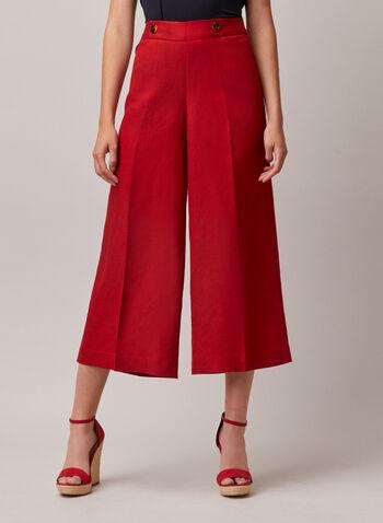Pantalon gaucho en lin, Orange,  pantalon, gaucho, lin, bouton, printemps été 2020